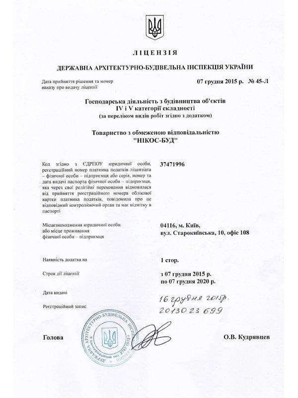 Лицензия Никос-Буд